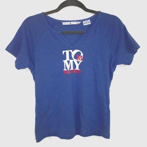 Tommy Hilfiger Blue Cotton Retro Logo Tee V-Neck